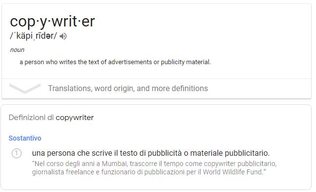 copywriting dizionario
